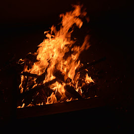 by Karanbir Singh Ghai - Abstract Fire & Fireworks ( bonfire, black background, flames, nikon d )