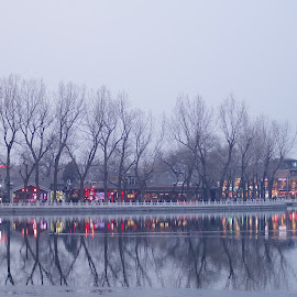 Houhai Lake at Zombie Hour by Francisco Little - City,  Street & Park  Night ( reflection, twilight, lake, houhai, beijing, china )