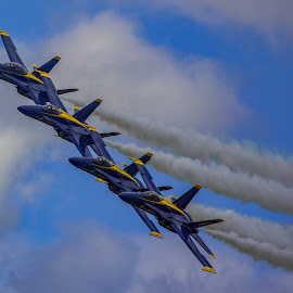 Blue Angels in Tight Formation by Mike Vaughn - Transportation Airplanes ( blue angels )