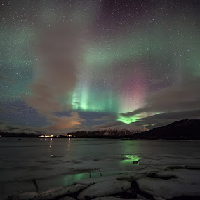 aurora colorful by Benny Høynes - Landscapes Starscapes ( colour, canon, 5dmk2, ice, aurora, sea, boreoalis, bennyhoynes )