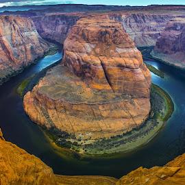Colorado River at Horseshoe Band by Arif Sarıyıldız - Landscapes Travel ( mountains, colorado river, arizona, horseshoeband, usa, river )