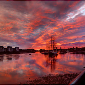 Sunrise over Greenwich and Tall Ships by Bill Green - Landscapes Waterscapes ( london, thames, sunrise, greenwich, #GARYFONGDRAMATICLIGHT, #WTFBOBDAVIS )