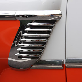 Confidence by Lyle Hatch - Transportation Automobiles ( car, orange, detail, zee, automobile, chrome, white, door, paint, two-tones, confidence, 1950's, fender, auto, restored, reflective, shiny, fifties,  )