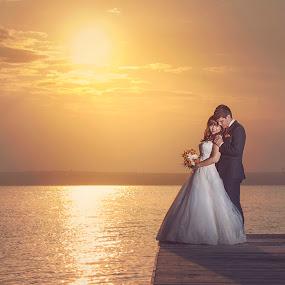 Sunset of love by MIHAI CHIPER - Wedding Bride & Groom