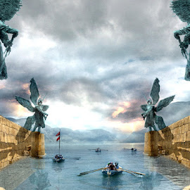 Into the Mystic by Bjørn Borge-Lunde - Digital Art Places ( clouds, fantasy, adventure, lightning, fairy tale, rowing, harbour, boats, monument, seascape, skies )