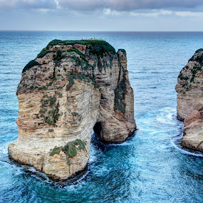 Raouche's Pigeons' Rock by Tawfik Dajani - Landscapes Caves & Formations ( pwcfoulweather-dq, water, landmark, libon, rouche, nature, beirut, weather, rock, lebanon )