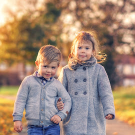 Lady and Gentleman by Piotr Owczarzak - Babies & Children Children Candids ( park, autumn, couple, childhood, kids, cute )