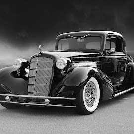1935 Cadillac Coupe by JEFFREY LORBER - Black & White Objects & Still Life ( jeffrey lorber, black car, car photo, coupe, cadillac, lorberphoto )