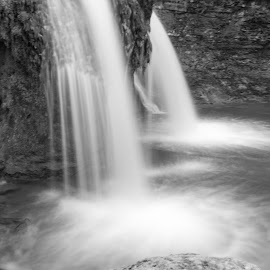 Creamery Falls by William Hayes - Novices Only Landscapes ( stream, upstate, black and white, creamery falls, vanhornesville, long exposure, new york, spring )