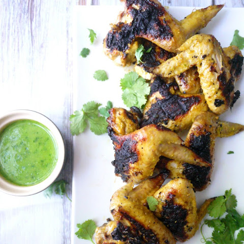 Char-Grilled Coconut and Lemongrass Chicken Wings with Green Chili Emulsion