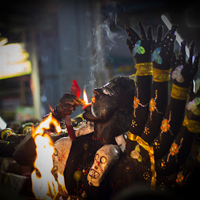 Kali 01 by Boodesh Ganeshkumar - People Street & Candids ( religion, smole, god, air, earth, man, fire )