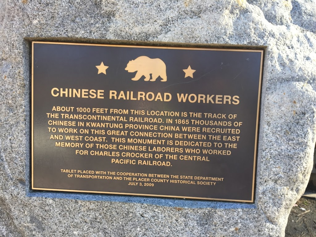 ABOUT 1000 FEET FROM THIS LOCATION IS THE TRACK OF THE TRANSCONTINENTAL RAILROAD. IN 1865 THOUSANDS OF CHINESE IN KWANTUNG PROVENCE CHINA WERE RECRUITED TO WORK ON THIS GREAT CONNECTION BETWEEN THE ...