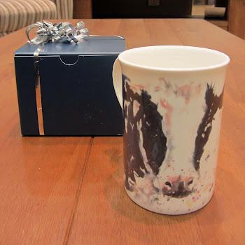 Cow mug gift rustic British shabby chic