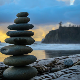 by Kathy Suttles - Artistic Objects Still Life ( washington, suttleimpressions, olympia national park, beach, rock cairn )