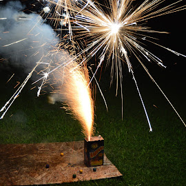 Box Fireworks by Thomas Shaw - Abstract Fire & Fireworks ( wood, grass, fireworks, flamming, night, backyard, sparks, fire, flame, works,  )
