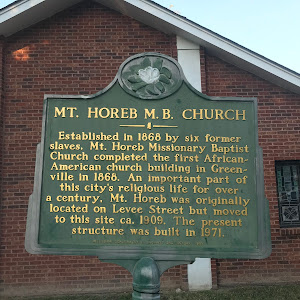 Established in 1868 by six former slaves, Mt. Horeb Missionary Baptist Church completed the first African- American church building in Greenville in 1868. An important part of this city's religious ...