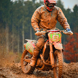 Spinning Wheel by Marco Bertamé - Sports & Fitness Motorsports ( mud, bike, rainy, wheel, spinning, motocross, clumps, motorcycle, standing, accelerating )