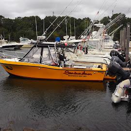 Bright Spot On A Rainy Day by Howard Mattix - Transportation Boats ( rainy day, waterscape, traansportation, boats, marina )