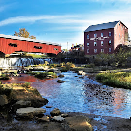Bridgeton, Indiana Mill and Bridge by Tim Hall - Buildings & Architecture Public & Historical