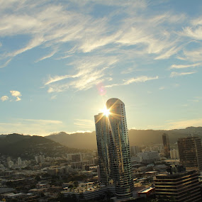 sunrise over Honolulu by Michael Guerrero - Buildings & Architecture Office Buildings & Hotels