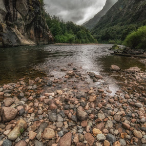 River in Patagonia, Chili by Drew Campbell - Landscapes Waterscapes