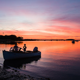 Boys in Boat by Carl Albro - Transportation Boats ( boys, boats, sundown, transportation )