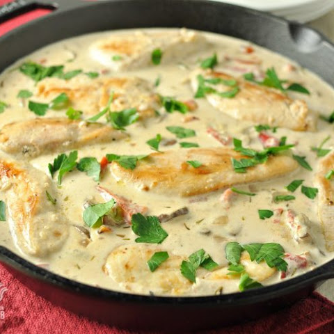 Chicken and Mushrooms with Roasted Red Pepper Alfredo Sauce - Low Carb, Gluten Free