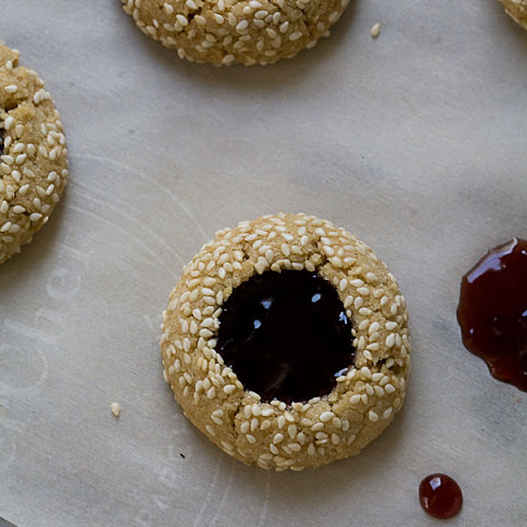 Tahini Concord Grape Thumbprint Cookies