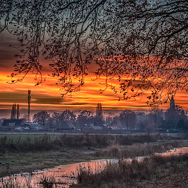 sunset above canal by Egon Zitter - Landscapes Sunsets & Sunrises ( water, red, village, sunset, canal, river )