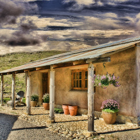 California Wine Country Shop by Dennis Granzow - Artistic Objects Other Objects ( california, digital art, stucco building, landscape, flowers )