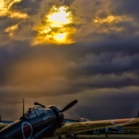 Sun never sets on the rising sun by Tom Anderson - Transportation Airplanes ( commemorative air force, mitsibishu zero, world war 2, planes of fame museum, japanese zero, 2016 planes of fame air show, japan, calfiornia, sunrise, zero, fighter, chino )