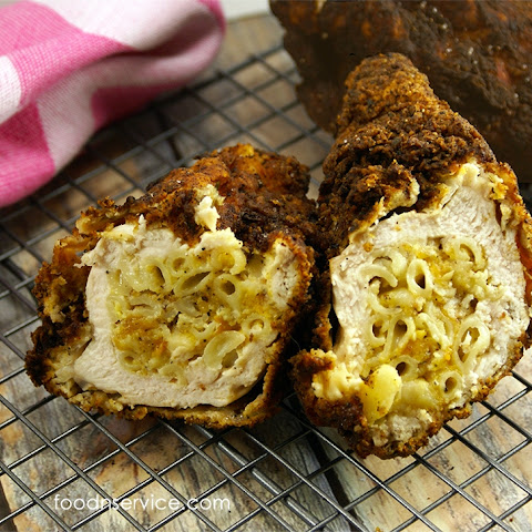 Macaroni And Cheese Stuffed Fried Chicken
