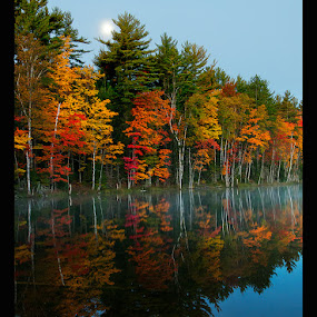 Dawn Moon by Jon Kinney - Landscapes Waterscapes ( moon, dawn, fall,  )