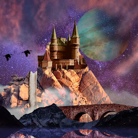 Castle by Charlie Alolkoy - Digital Art Places ( water, planet, mountain, sky, stars, castle, bridge, birds )