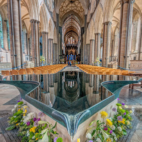 Reflection by Darren Whiteley - Buildings & Architecture Places of Worship ( religion, salisbury, font, inside, abbey,  )