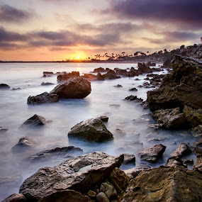 California Sunset by John Souza - Landscapes Beaches ( water, clouds, hdr, sea, ocean, rock, beach, seascape, landscape, sun, sky, nature, sunset, wave, natural, rocks )