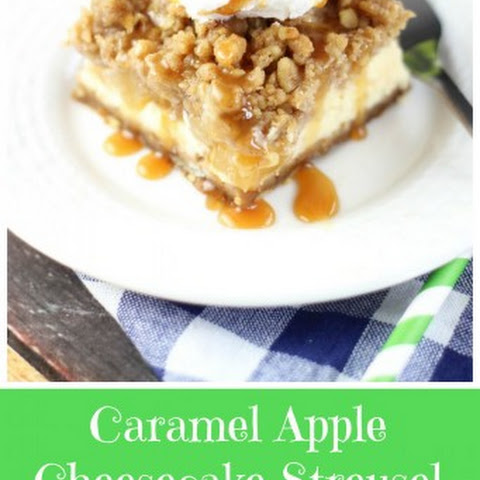 Caramel Apple Cheesecake Streusel Bars with Gingersnap Walnut Crust