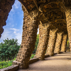 Barcelona Park Guell by TG Loves to  Travel - Buildings & Architecture Public & Historical ( sky, green, architecture, stones )