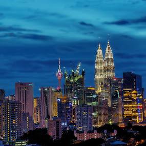 Kuala Lumpur Cityscape by the blue hour by Edwin Ng - Travel Locations Landmarks ( klcc, kl tower, suria, lumpur, blue, malaysia, cityscape, hour, kuala, evening, kl, city, landmark, travel )
