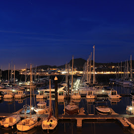 boats in the night by Elton Whittaker - Transportation Boats