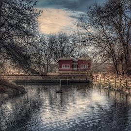 February morning. by Zach Hanson - Landscapes Waterscapes ( state park, landscape, nebraska, pond, panorama )