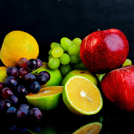 Fruits by Renjith Ramesan - Food & Drink Fruits & Vegetables ( orange, red apple, grapes, green grapes,  )