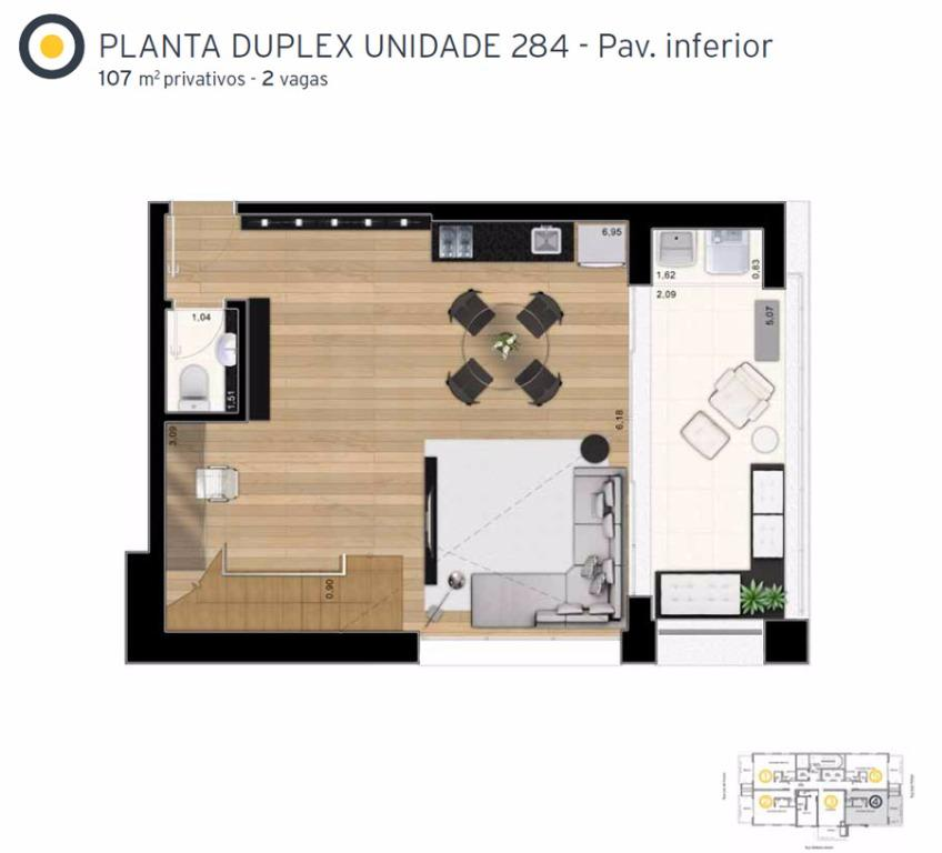 Planta Cobertura Duplex Inferior Final 4 - 107 m²