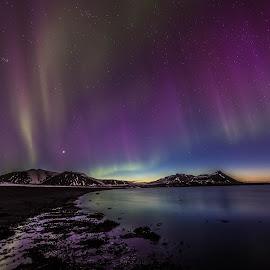 Aurora right after sunset by Palmi Vilhjalmsson - Landscapes Starscapes ( colour, mountains, sunset, aurora borealis, aurora )