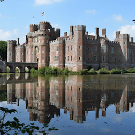 Herstmonceux Castle Reflections by Fiona Etkin - Buildings & Architecture Public & Historical ( water, reflections, lake, castle, architecture )