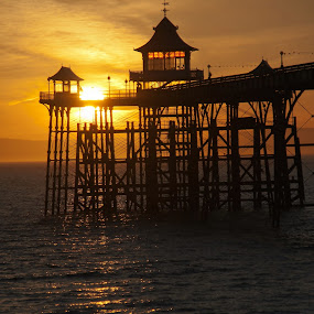 Clevedon Pier Sunset by Andro Andrejevic - Novices Only Landscapes ( water, uk, north somerset, clevedon pier, clevedon, sea, landscape, united kingdom, golden sunset, somerset, sunset, pier, rocks,  )