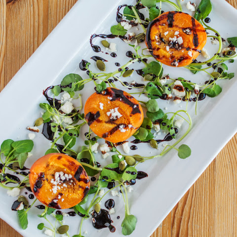 Grilled Apricot Salad with Balsamic Syrup