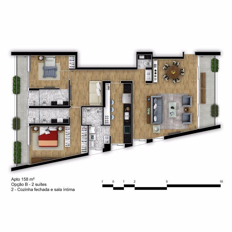 Planta Tipo Final 2B com Cozinha Fechada e Sala íntima - 158 m²