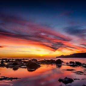 Reflections of Fire - Runswick Bay UK by John Haswell - Landscapes Sunsets & Sunrises ( uk, runswick bay, yorkshire, seascape, sunrise, northeast, rocks, sun,  )