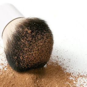 Foundation explosion by Martin Burnett - Products & Objects Business Objects ( explosion, makeup, cosmetics, powder, foundation, brush, kabuki )